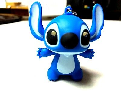 MODERN BLUE LILO & STICH  RING LIGHT  MINI LED KEYCHAIN FROM CARTOON AND GAMES