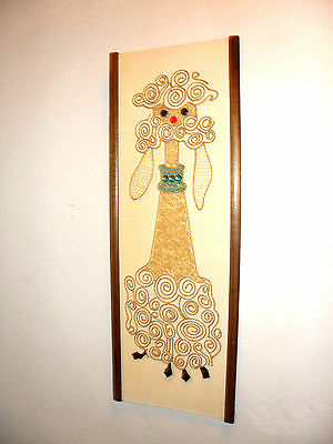 Vintage Mid Century Modern POODLE Gravel Tile PICTURE mixed media Wall Art