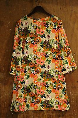 70s Handmade VTG Dress Boho Hippy Floral Neon Talon Shift Bell Sleeves Med Mod