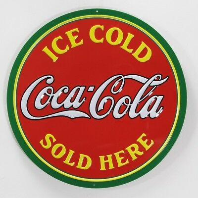 Coca-Cola Sold Here Round Tin Metal Sign Embossed Soda Fountain Decor 14 in.