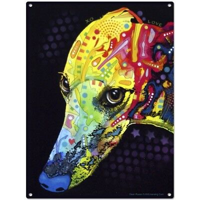 Greyhound Dog Dean Russo Pop Art Metal Sign Pet Steel Wall Decor 12 x 16