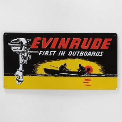 Evinrude Outboard Motor Metal Sign Vintage Style Boating Wall Decor 17 x 8.5