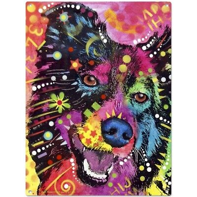 Border Collie Dean Russo Pop Art Dog Sign Pet Steel Wall Decor 12 x 16