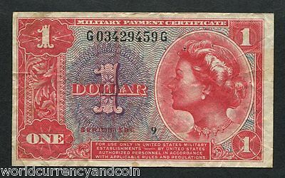United States Usa $1 1961 Mpc Military Payment 591 Series Currency Money Note