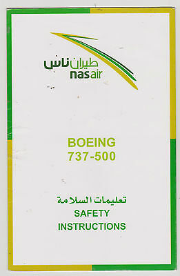 Safetycard nas air BOEING 737-500,low cost airline of Saudia Arabia