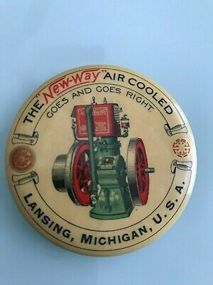 Rare 1900 The New-Way Air Cooled Combustion Engine Advertising Pocket Mirror