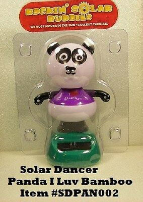 Solar Dancing PANDA w Purple Shirt*NEW also available Monkey, Bear, Pig, + MORE