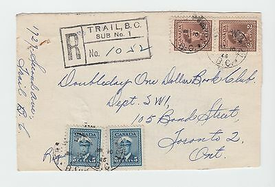 C649 Canada BC Trail 1946 Sub Office # 1 CDS - Registered Cover to Toronto
