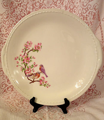 Vintage 13  Inch Round Taylor Smith Serving Platter Blue Birds in Apple Blossoms