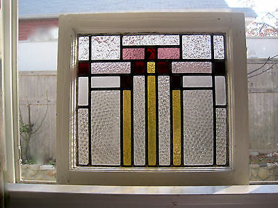 "1930s~ART DECO~ENGLISH~STAINED GLASS~SASH WINDOW~ABSTRACT/GEOMETRIC~19"" x 17.5"""