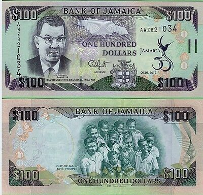 JAMAICA,  $100 DOLLARS,  2012,  P-84,  UNC,  BANKNOTE,  CENTRAL AMERICA