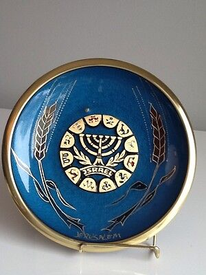 Vintage Brass And Enamel  Jewish Menorah Hand Made In ISRAEL Plaque Jewish