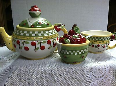 1998 Mary Engelbreit Teapot Creamer Sugar Cherries Motif Green Yellow Red White