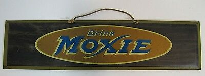 Antique DRINK MOXIE Sign Rare Early 1900s tin litho HD BEACH COSHOCTON OHIO