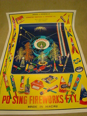 VINTAGE PEACOCK FIREWORKS POSTER PO SING Macau Schneitter Fw & Import 21X31 VGC