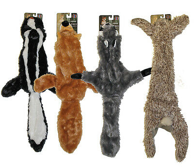 4 Stuffing Free Furry Dog Puppy Toys w/Squeakers Raccoon, Rabbit, Fox, Skunk