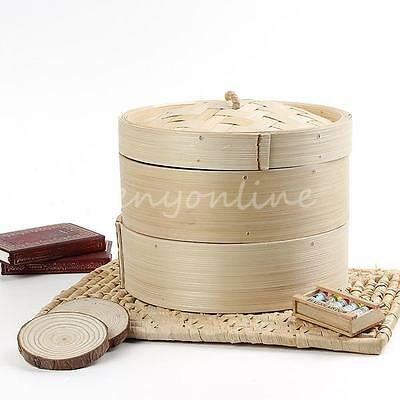 New 20cm 2 Tier Bamboo Steamer Basket Rice Pasta Cooker Kitchen Craft Set + Lid