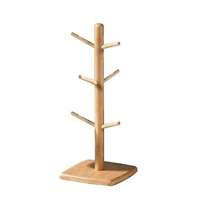Premier Housewares 6 Cup Hoder Stylish Natural Bamboo Mug Tree Storage Solution
