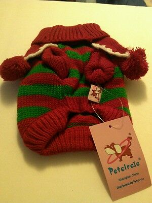 RED & GREEN CHRISTMAS SWEATER/COAT DOG/PUPPY/CAT/PET SIZE XS