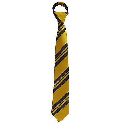 New Kids Boys Zipper up Adjustable Pre-tied Necktie Yellow Black White Stripes