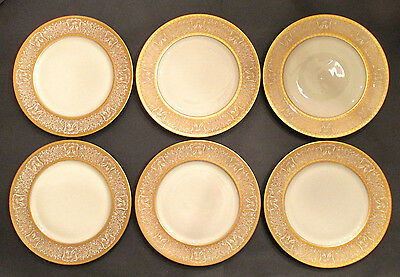 6 SELB BAVARIA HEINRICH & CO GOLD ENCRUSTED RIM DINNER PLATES CHARGERS EAGLES