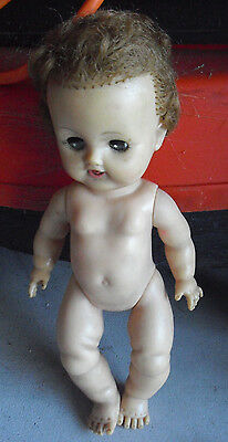 "Vintage 1960s Ideal VW1 Vinyl Baby Girl Character Doll 11"" Tall"