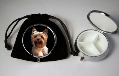 Yorkie Yorkshire Terrier Dog Pill Box 3 compartments with velour pouch