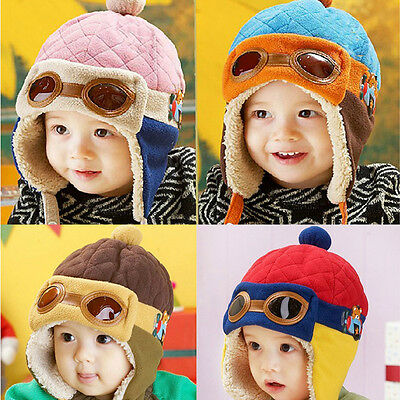 Hot Winter Baby Toddlers Girls Boys Kids Pilot Aviator Cap Warm Soft Beanie Hat