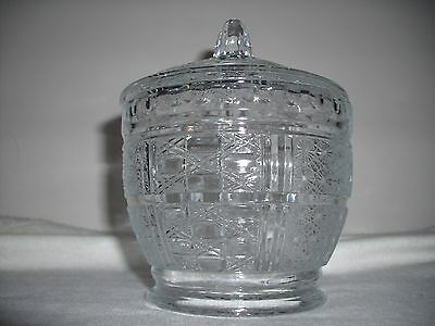 Indiana Glass Colony Baroque Daisy Button Style Clear  Candy Dish With Lid