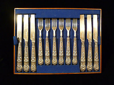 Set Of Georgian William Iv Sterling Silver Queens Pattern Knives & Forks - 1832