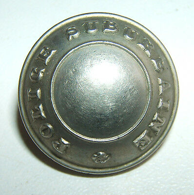 "BOUTON ARGENTE "" POLICE SUBURBAINE "" - 22 mm - Fab T.W.& W."