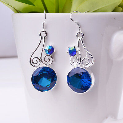 charms jewelry 925 sterling silver hollow design round crystal dangle earrings