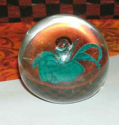 Nice ~ Clear Glass W/ Blue Flower Design & Bubble Paperweight