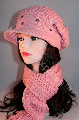 New Fashion Lady Knit Winter Warm Hat Scarf Set Baggy Beret Beanie Cap Set