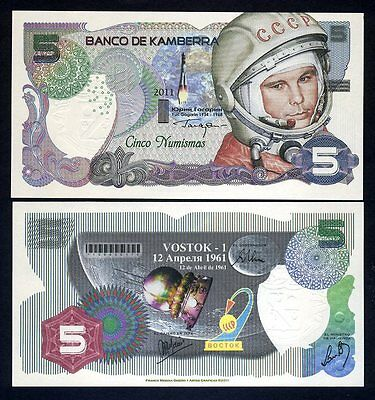 Kamberra, 5 Numismas, 2011, UNC Yuri Gagarin Commemorative 1st man in space