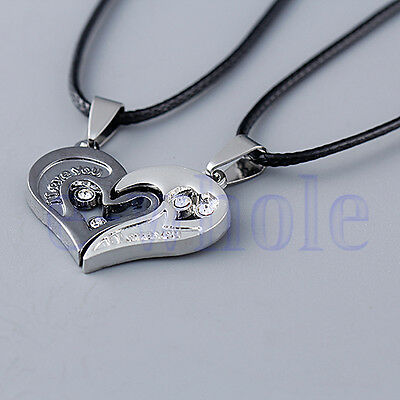 Men Women Lover Couple Necklace I Love You Heart Pendant Stainless Steel TW