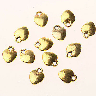 100pcs dark gold color smooth solid heart charm h3087