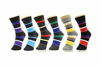 6 Pairs Mens Color Stripe Crew Dress Socks Professional Work 10-13 Formal Fun