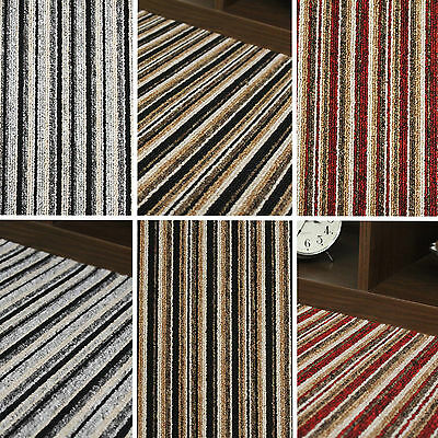 Quality Stripe Carpet - Black Grey Stripey Felt Carpets Cheap Rolls 4 Metre Wide