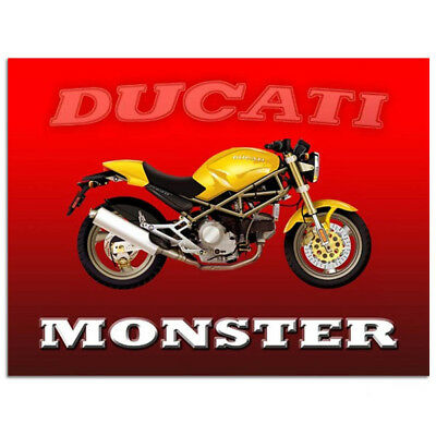 Ducati Monster Metal Sign 16x12 Yellow Vintage Motorcycle Garage Wall Decor