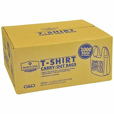 T Shirt Carry Out Thank You Plastic Shopping Grocery Bags 1000ct 100% Recyclable