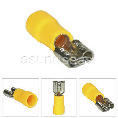 500 × Yellow 12-10AWG Insulated Female Spade Cable Terminal 6.4mm FDD5.5-250