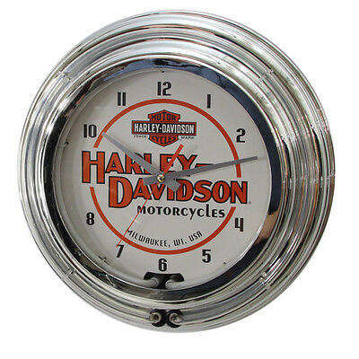 Harley-Davidson Double Neon Light Wall Clock Vintage Chrome H-D Wall Decor