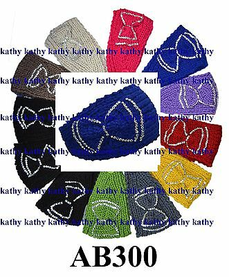 Wholesale lot 12 PCS Solid Plain HEADWEAR Ribbon Crochet Knit Headwrap Headband