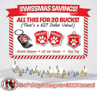 SWISSY PAK! Dog tag, Bottle Opener, and 2 Car decals!