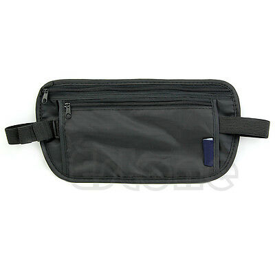 New Unisex Travel Security Black Zipped Money Bum Pouch Passport Waist Belt Bag