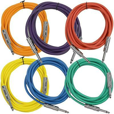 "SEISMIC AUDIO New 6 PACK Colored 1/4"" TS 10' Patch Cables - Guitar - Instrument"