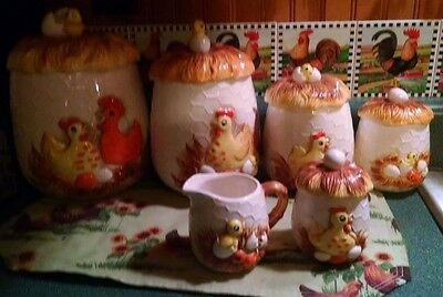 Ceramic Canister Set Sears 1976 Chicken Little Canister's