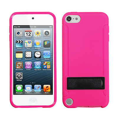 For APPLE iPod touch 5 Gummy Gel Skin Case Cover Solid Black/Hot Pink With Stand