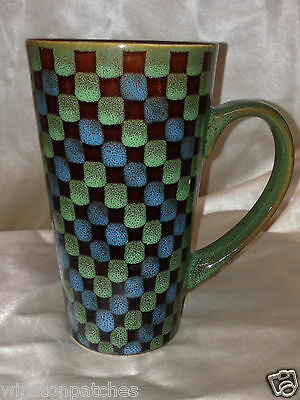 HOME ESSENTIALS LATTE MUG GREEN REACTIVE BROWN BLUE SQUARES 16 OUNCE TALL BOXES